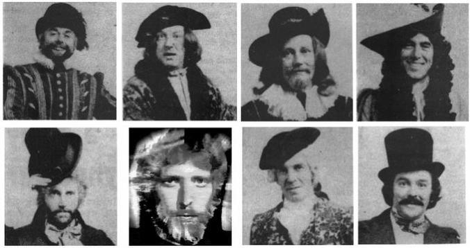 Faces of the Doctor before Hartnell -- spot Robert Holmes in a funny hat